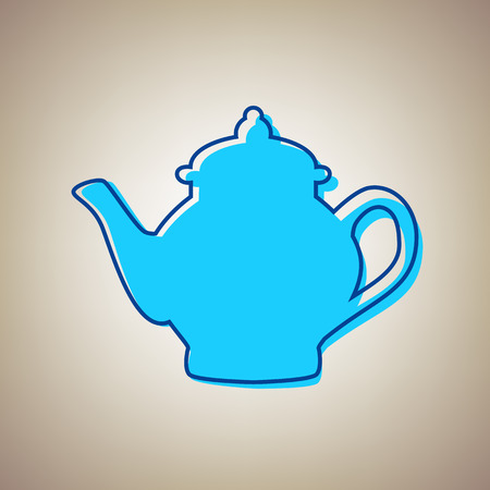 Tea maker sign. Vector. Sky blue icon with defected blue contour on beige background. Illustration