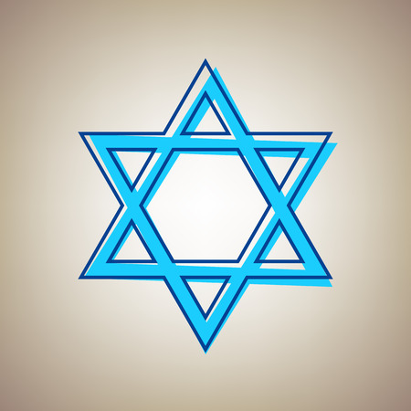 Shield Magen David Star. Symbol of Israel. Vector. Sky blue icon with defected blue contour on beige background.