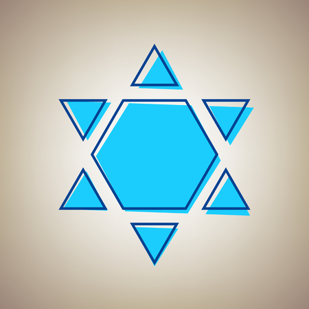 jewish star: Shield Magen David Star Inverse. Symbol of Israel inverted. Vector. Sky blue icon with defected blue contour on beige background. Illustration