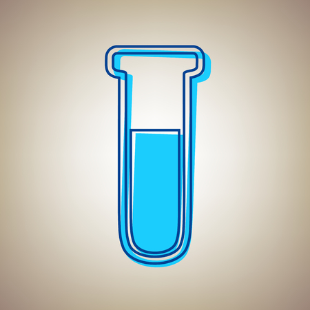 poison sign: Medical Tube icon. Laboratory glass sign. Vector. Sky blue icon with defected blue contour on beige background. Illustration