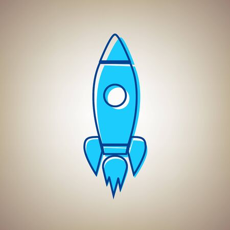 Rocket sign illustration. Vector. Sky blue icon with defected blue contour on beige background.