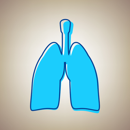 Human anatomy. Lungs sign. Vector. Sky blue icon with defected blue contour on beige background.