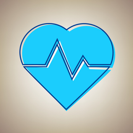 curve: Heartbeat sign illustration. Vector. Sky blue icon with defected blue contour on beige background.