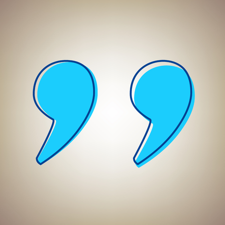 opinion: Quote sign illustration. Sky blue icon with defected blue contour on beige background.