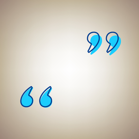Quote sign illustration. Vector. Sky blue icon with defected blue contour on beige background. Illustration