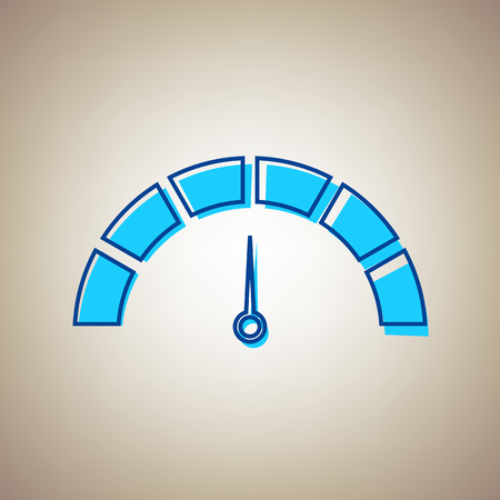 dash: Speedometer sign illustration. Vector. Sky blue icon with defected blue contour on beige background. Illustration