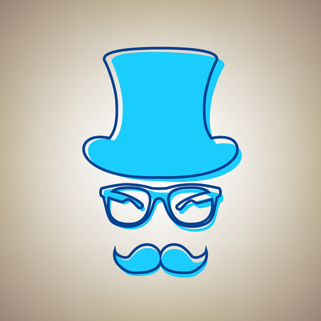 Hipster accessories design. Vector. Sky blue icon with defected blue contour on beige background.