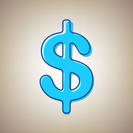 Dollars sign illustration. USD currency symbol. Money label. Vector. Sky blue icon with defected blue contour on beige background.