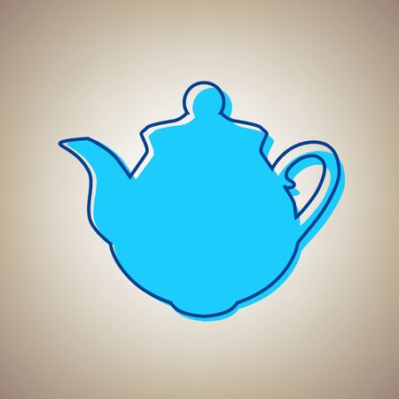 device: Tea maker sign. Vector. Sky blue icon with defected blue contour on beige background. Illustration