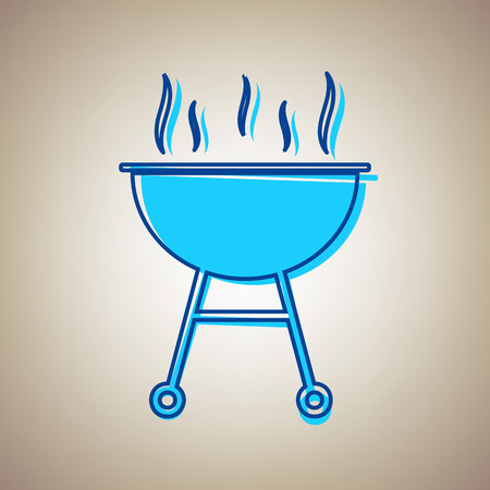Barbecue simple sign. Vector. Sky blue icon with defected blue contour on beige background.