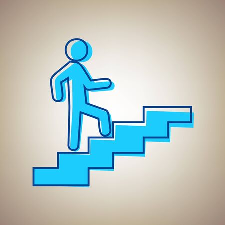 Homme sur les escaliers en remontant. Vecteur. Icône bleu ciel avec contour bleu défection sur fond beige. Vecteurs