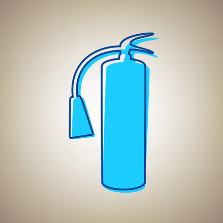 Fire extinguisher sign. Vector. Sky blue icon with defected blue contour on beige background. Illustration
