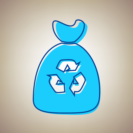 Trash bag icon. Vector. Sky blue icon with defected blue contour on beige background. Illustration