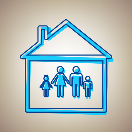 happy family: Family sign illustration. Vector. Sky blue icon with defected blue contour on beige background.