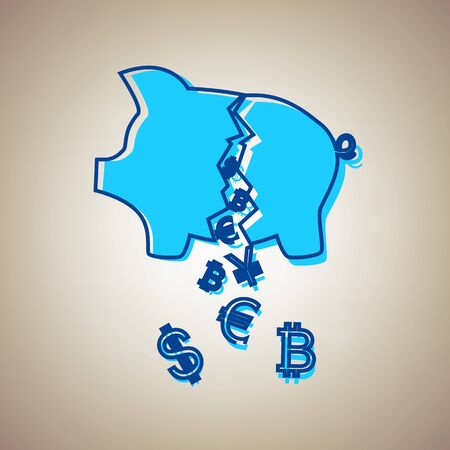 Pig money bank sign. Vector. Sky blue icon with defected blue contour on beige background. Illustration