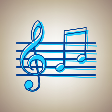 quaver: Music violin clef sign. G-clef and notes G, H. Vector. Sky blue icon with defected blue contour on beige background.