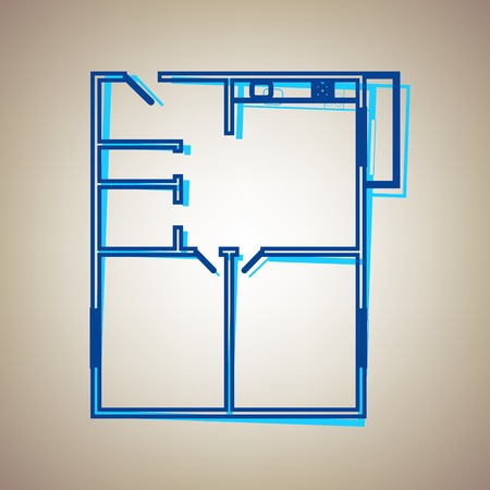 residential homes: Apartment house floor plans. Vector. Sky blue icon with defected blue contour on beige background.