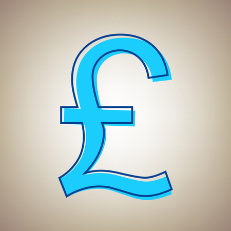 Turkish lira sign. Vector. Sky blue icon with defected blue contour on beige background. Illustration