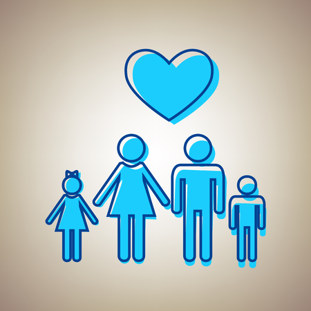 happy family: Family symbol with heart. Husband and wife are kept childrens hands. Love. Vector. Sky blue icon with defected blue contour on beige background.