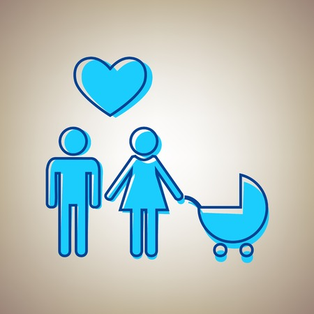 happy family: Family symbol with pram and heart. Husband and wife are kept each others hands. Love. Vector. Sky blue icon with defected blue contour on beige background.