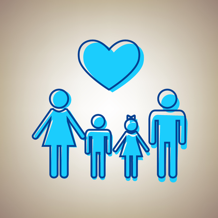 happy family: Family symbol with heart. Husband and wife are kept childrens hands. Vector. Sky blue icon with defected blue contour on beige background.