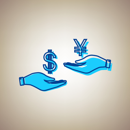 Currency exchange from hand to hand. Dollar and Yen. Vector. Sky blue icon with defected blue contour on beige background.