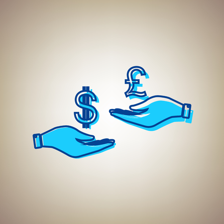 Currency exchange from hand to hand. Dollar and Pound. Vector. Sky blue icon with defected blue contour on beige background.