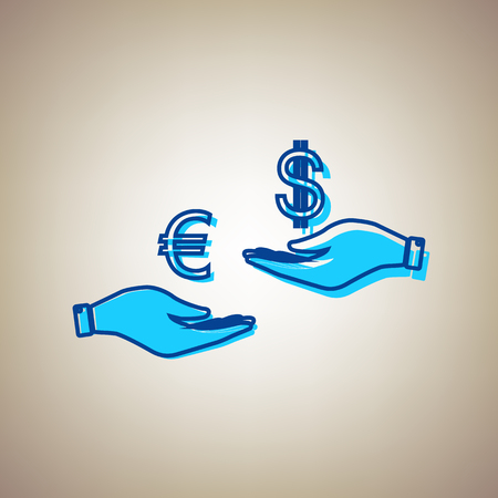 Currency exchange from hand to hand. Euro and Dollar. Vector. Sky blue icon with defected blue contour on beige background.
