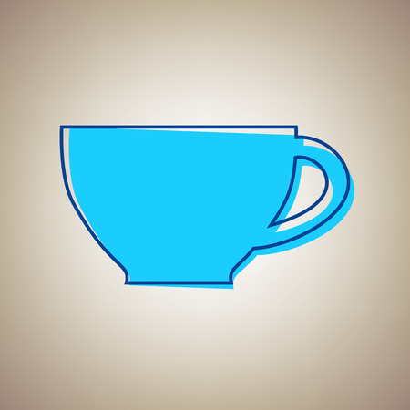 Cup sign. Vector. Sky blue icon with defected blue contour on beige background. Иллюстрация