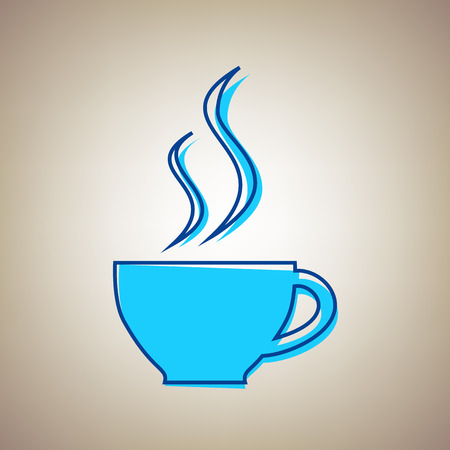 Cup sign with two small streams of smoke. Vector. Sky blue icon with defected blue contour on beige background. Illustration