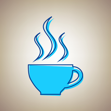Cup sign with three small streams of smoke. Vector. Sky blue icon with defected blue contour on beige background. Иллюстрация
