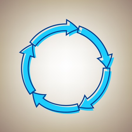 shopping chart: Circular arrows sign. Vector. Sky blue icon with defected blue contour on beige background.