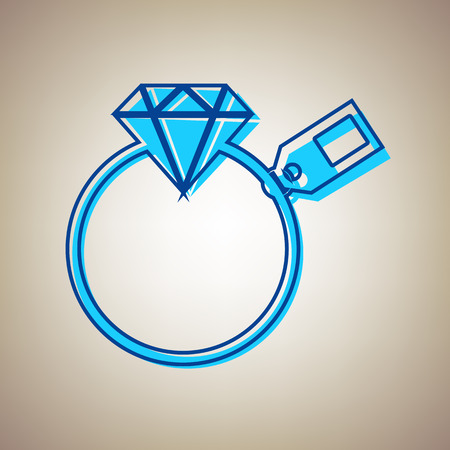 Diamond sign with tag. Vector. Sky blue icon with defected blue contour on beige background. Illustration