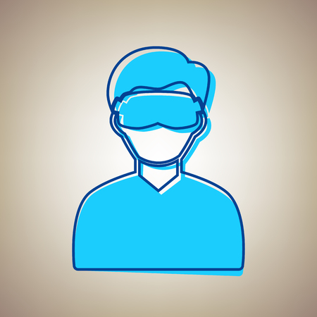 Man with sleeping mask sign. Vector. Sky blue icon with defected blue contour on beige background. Illustration