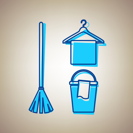 Broom, bucket and hanger sign. Vector. Sky blue icon with defected blue contour on beige background.