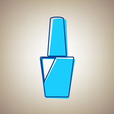 bright: Nail polish sign. Vector. Sky blue icon with defected blue contour on beige background.