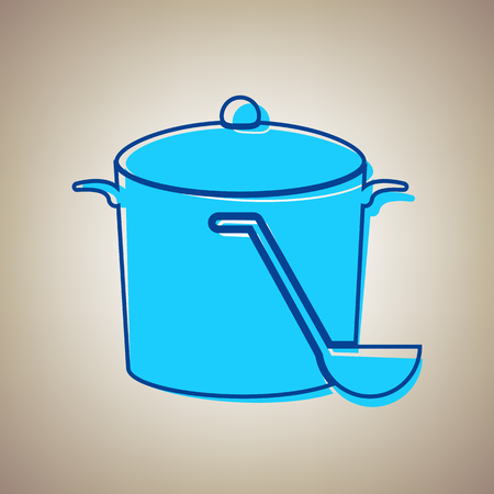 Pan with steam sign. Vector. Sky blue icon with defected blue contour on beige background.