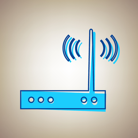 Wifi modem sign. Vector. Sky blue icon with defected blue contour on beige background.