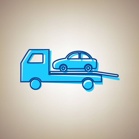 park: Tow car evacuation sign. Vector. Sky blue icon with defected blue contour on beige background. Stock Photo