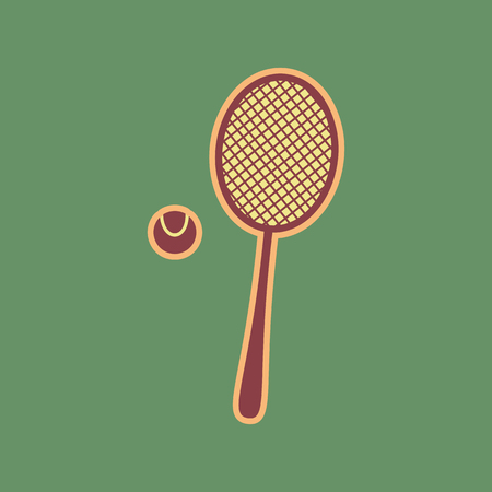 Tennis racquet with ball sign. Vector. Cordovan icon and mellow apricot halo with light khaki filled space at russian green background.