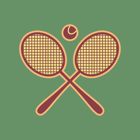 Two tennis racket with ball sign. Vector. Cordovan icon and mellow apricot halo with light khaki filled space at russian green background.