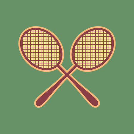 Two tennis racket sign. Vector. Cordovan icon and mellow apricot halo with light khaki filled space at russian green background. Illustration