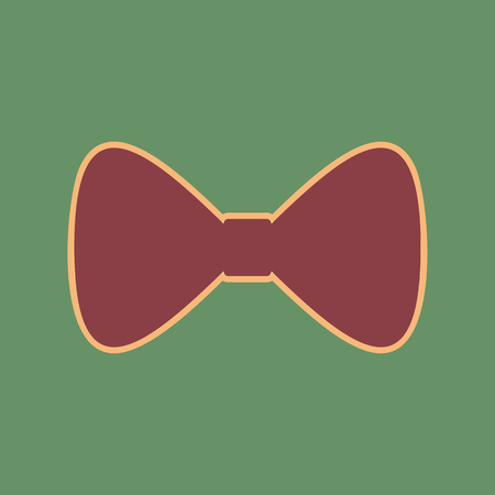 Bow Tie icon. Vector. Cordovan icon and mellow apricot halo with light khaki filled space at russian green background. Illustration