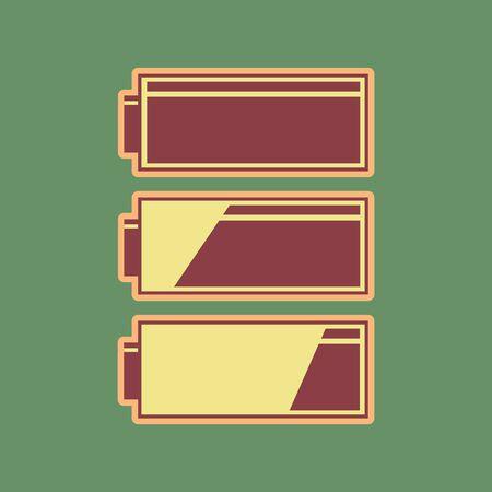 バッテリ充電レベルインジケータのセット。ベクトル。コードバンアイコンとまろやかな光でメロウアプリコットハローロシアの緑の背景にスペー  イラスト・ベクター素材