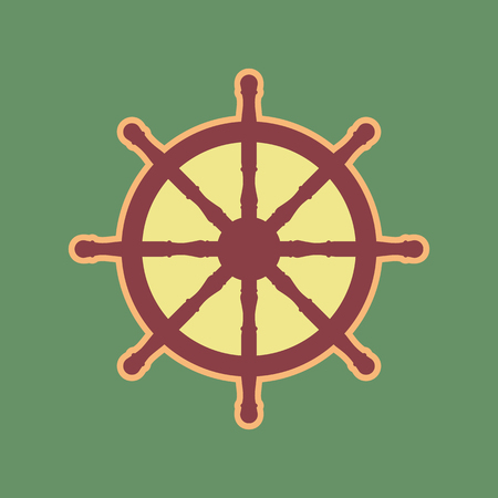 button: Ship wheel sign. Vector. Cordovan icon and mellow apricot halo with light khaki filled space at russian green background.