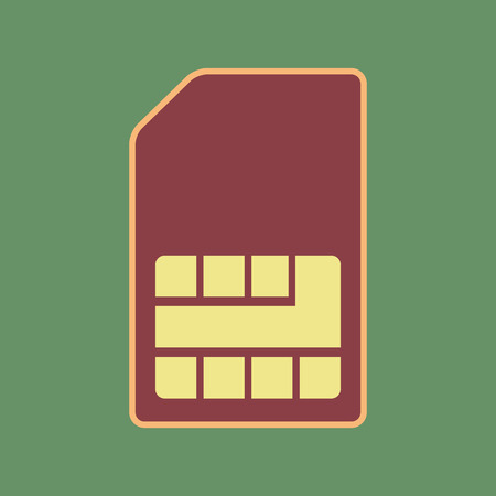 Sim card sign. Vector. Cordovan icon and mellow apricot halo with light khaki filled space at russian green background.