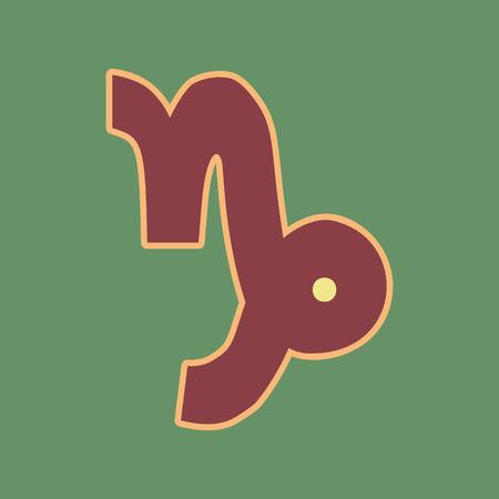 Ilustración de signo de Capricornio. Vector. El icono cordobés y el halo suave del albaricoque con khaki ligero llenaron el espacio en el fondo verde ruso.