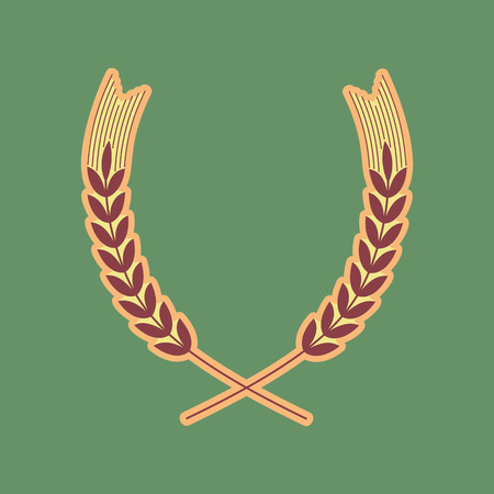 spica: Wheat sign illustration. Spike. Spica. Vector. Cordovan icon and mellow apricot halo with light khaki filled space at russian green background.
