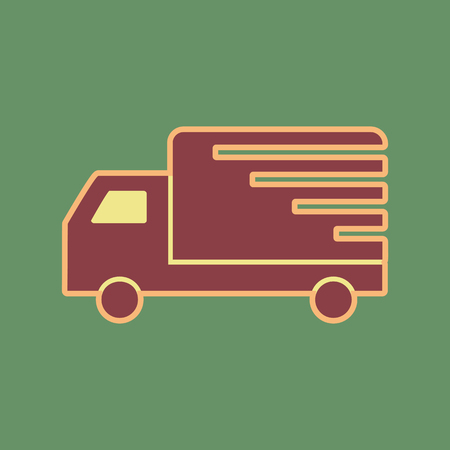 semitruck: Delivery sign illustration. Vector. Cordovan icon and mellow apricot halo with light khaki filled space at russian green background.