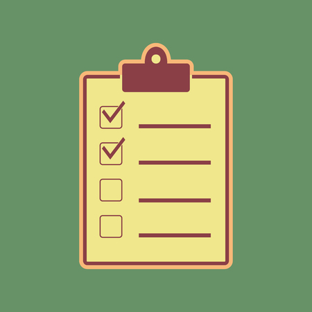 choosing: Checklist sign illustration. Vector. Cordovan icon and mellow apricot halo with light khaki filled space at russian green background.